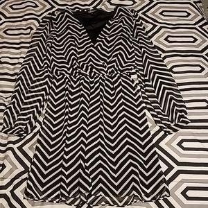 Express black and white chevron dress XS size